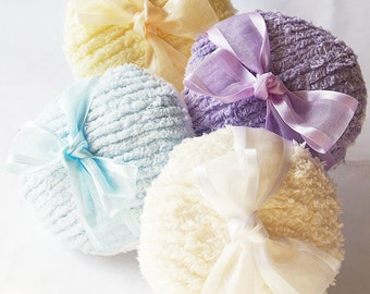 CHENILLE Powder Puffs - 4 Colors Available