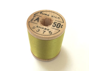 BELDING CORTICELLI - Vintage Thread - #9375 Parakeet - Pure Silk - 100 yds - Chartreuse Color - Embroidery Ribbonwork Fly Tying