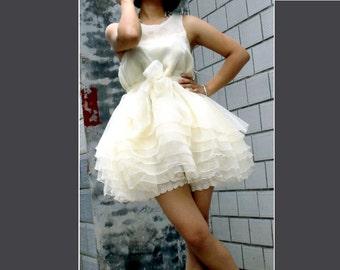 50% off on sale-----Bow dress tutu dress organza dress chiffon dress beige cream dress