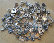 Grab Bag 40 +  Silver Tone  Charms Fit Pandora Bracelets for Ware, Resale or Crafts