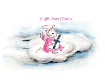 Baby Card Angel Mouse Congratulations on baby girl,  welcome baby