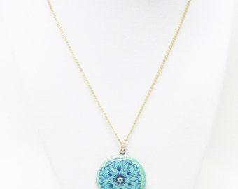 "Pop Age"" Round Multi Color Photo Locket Pendant Necklace"