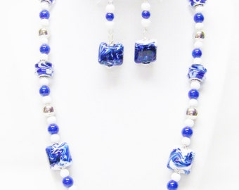 Puffy Blue w/White Square & Big Hole Lamp Work Glass Bead Necklace/ Bracelet/Earrings Set