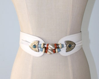 Vintage White Leather Cowgirl Belt . Country Western Beaded Belt . Rodeo Ranch County Fair Cowgirl Belt