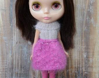 Blythe doll big collar blush and bright pink beaded angora dress.  Neo Blythe Licca Pullip Licca Dal babydoll dress