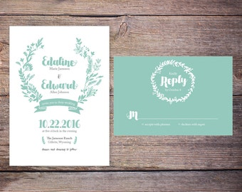 Floral Wedding Invitation Suite, DiY Digital Printable File, Mint Summer Flowers, Customize, Modern, Invites
