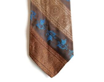 """Foxhunting Mens Necktie - Brown and Blue - Mens Neckties Ties - 3 5/8"""" - Vintage 70s Novelty Tie - Beau Brummell"""