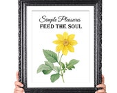 Simple Pleasures Feed the Soul, Kitchen Art, Office Art, Inspirational Quote, Happiness Quote, Vintage Flower Illustration, yellow 8x10