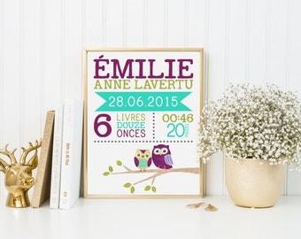 Décoration chambre de bébé, décoration enfant, imprimé de naissance, affiche de naissance, décor hiboux, cadeau de naisssance, cadeau shower