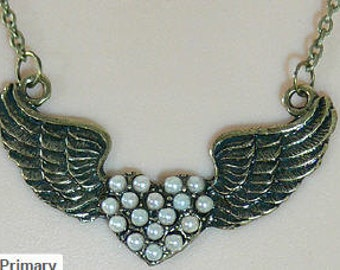Angel Wings Necklace, Pearl Heart Pendant and Chain, MG-216