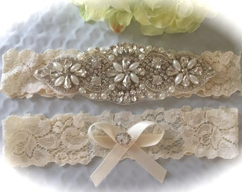 Wedding Garter, Bridal Garter, Garter Set - Crystal Rhinestone & Pearls on a Ivory Lace