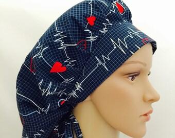 Bouffant Surgical Scrub Hat - Calling All Nurses scrub hat - Heart Beat Bouffant Scrub Hat - Ponytail Scrub hat - EKG scrub hat