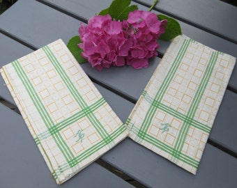 Two 2 Set  German  Linen Towels   Linen Geometrics  Stripes Monogram HR Kitchen  Dish Cloths Napkins  Wraps  Bath Cloths Torchon Napkins