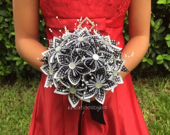 SOPHISTICATED- Origami Paper Flower Bouquet / Paper Bridal Bouquet, Kusudama, Origami Bouquet, Wedding, Bridal Bouquet, Bridesmaid Bouquet
