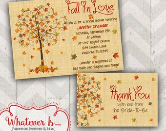 Fall In Love Bridal Shower Invitation with Thank You Card