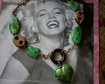 Green Heart Statement Necklace