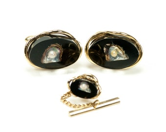 Vintage Pearl in Shell Cuff Links with Tie Tac  Swank Resin
