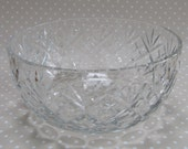 Vintage Heavy Cut Glass Crystal Fruit Bowl