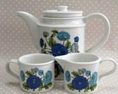 Vintage Retro Port Meirion Blue Flower Floral Coffee Pot Mug and Milk Pourer Set