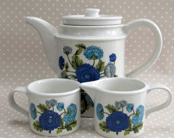 Vintage Retro Port Meirion Blue Flower Floral Coffee Pot Mug and Milk Pourer Set