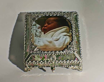 Photo Glass Jewelry Box -  Faberge Style