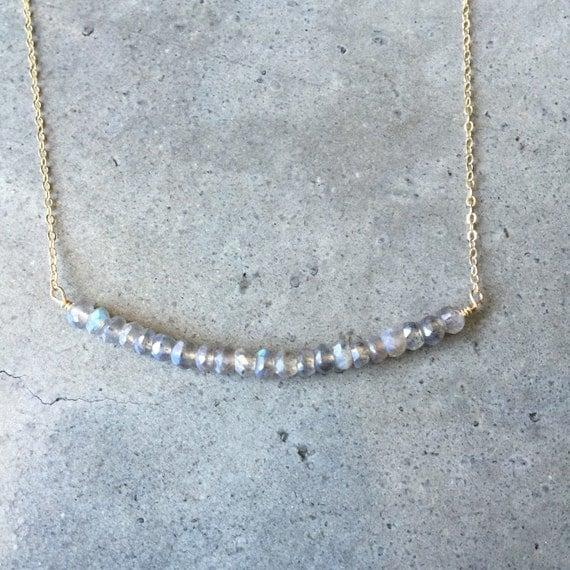 Labradorite bar necklace, wedding jewelry, bridesmaids necklace, sister gift, mother gift, labradorite necklace