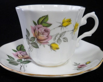 Royal Grafton Tea Cup and Saucer, Pink and Yellow Rose Tea Cup, Made in England