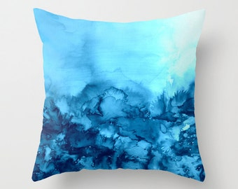 INTO ETERNITY Turquoise Blue Watercolor Painting Art Throw Pillow Cover 16x16 18x18 20x20 Square, Spring Colorful Nature Floral Abstract