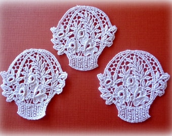 Venice Lace Floral Basket Appliques, White, x 3, For Decor, Apparel, Accessories, Scrapbooks, Mixed Media, Romantic & Victorian Crafts