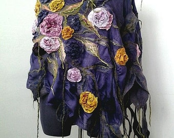 "Nuno felted  varicolored scarf shawl poncho felting wool luxury floral romantic tippet stole with roses ""Blues autumn colors"""