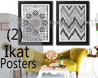 Shades of Grey White Ikat Giclee Poster Wall Art Wall Art Ikat Prints CollectionSet of  (2)  -18x24 Poster - (UNFRAMED) #245949543