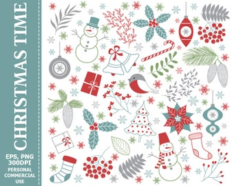 50% OFF SALE Digital Christmas Time Clip Art - Gifts, Decorations, Holly, Snowman, Xmas Clip Art