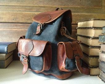 Rustic Leather Backpack Rucksack, Brown and Charcoal Gray Suede  Medium