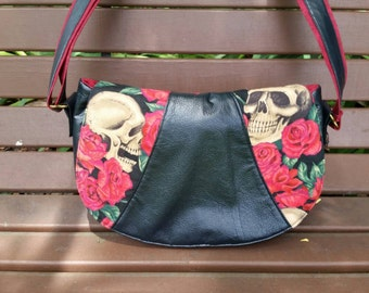 Swoon Rosie, Crossbody Purse, Alexander Henry fabric, Resting in Roses, Messenger Bag, Shoulder Purse, Skulls and Roses