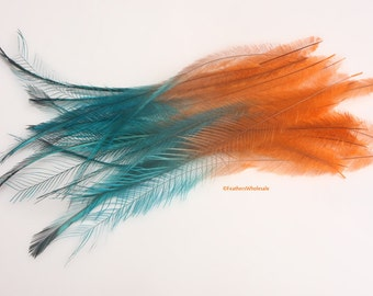 Orange Turquoise Cruelty Free Feathers for Crafts Emu Plume Orange Blue Craft Feathers for Hair Accessories Clips & Extensions QTY10 6-8inch