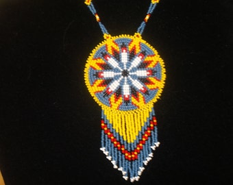 native american necklace, eagle feathers necklace
