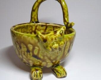 Ceramic Cat Bowl Yellow Green