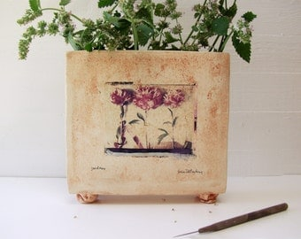 "Flower Vase.  ""Jardinere"" Footed Hand-Built Ceramic Vase. Polaroid Transfer.  Discounted Display / Demo Piece."