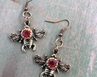 Pinky Bee Earrings/Edwardian/Victorian/Woodland