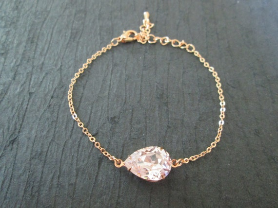 rose gold swarovski crystal bracelet rose gold by kvedesigns. Black Bedroom Furniture Sets. Home Design Ideas