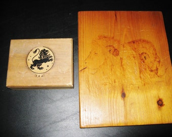 LIONS - Pyrography of Lion Faces and Trinket box