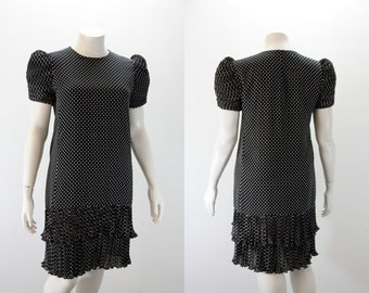 LG - XL Vintage Dress - 1980s does 1920s Drop Waist Black and White