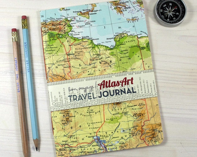NOTEBOOK Afrika, Lybia, Algeria, 5,7x8,2inch, 32 p. RULED travel journal, diary, notebook, atlas, map, vintage