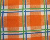 1970's Orange Plaid, Plaid, Orange, 1970's, 1960's, Bright, Blue, Green, Cotton Blend, Dress Fabric, Shirt Fabric, Masculine, Preppy