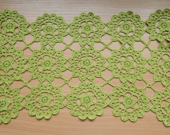 Rectangular Doily, Green Crochet Doily, Lace Doily,  18x10 inches, Centerpiece, Home decor, Table decoration, Placemat, Table topper