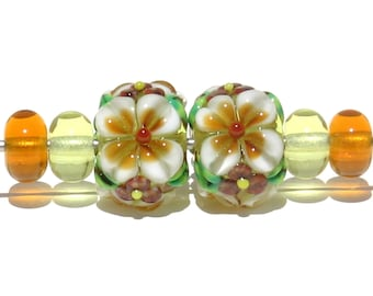 Autumn Fall Flower Floral Handmade Lampwork Beads, Perfect for a pair of Earrings.