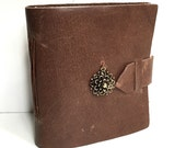Brown Leather Mini Journal with Mum Flower Charm