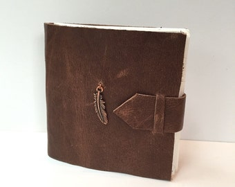 Brown Leather Mini Journal with Feather Charm