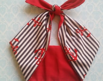 anchor red, nautical 50s style bandana, rockabilly pin up psychobilly tattoo hairband headband
