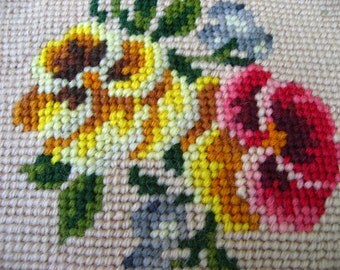vintage needlpoint pansy violet red yellow square pillow repurposed upcycled